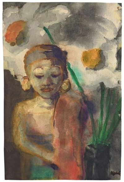 Emil Nolde - Javanese Statuette and two flower