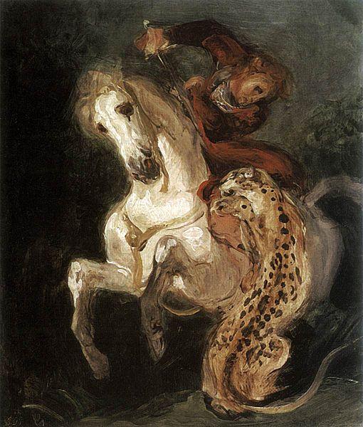 delacroix - jaguar attacking a horseman