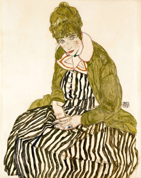 Egon Schiele -  Edith Schiele en robe à rayures, assise, 1915.jpg
