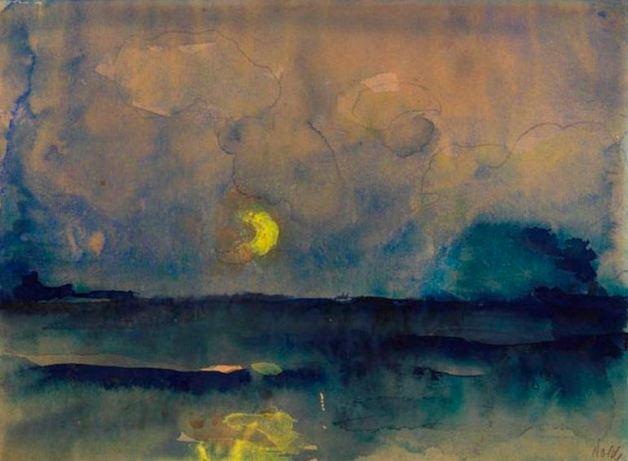 half moon over the sea