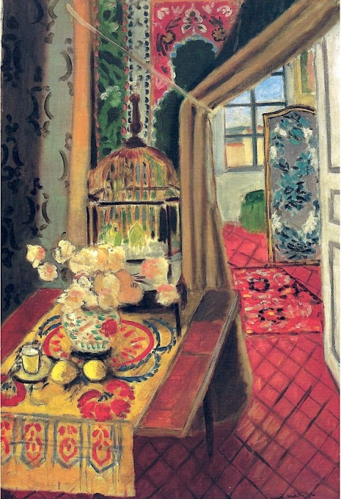 Henri Matisse - Interior Flowers and Parakeets, 1924