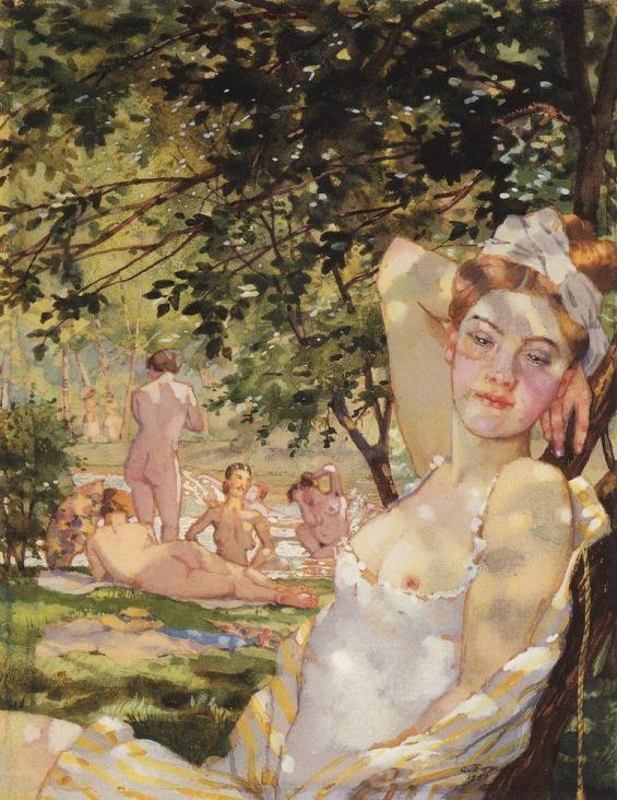 konstantin somov - bathers in the sun