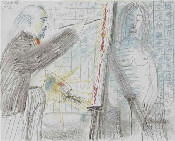 Pablo Picasso (Spanish, 1881-1973), Peintre et modèle,