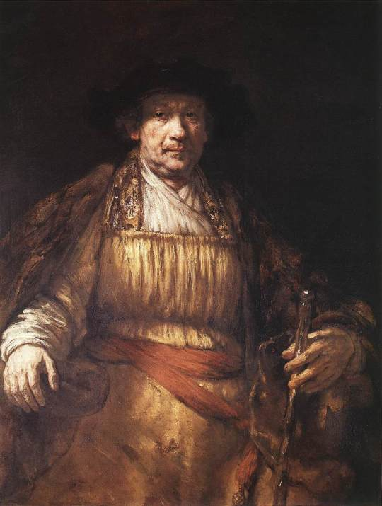Rembrandt - Self Portrait 1658. After being forced to sell most of his possessions and belongings, coming close to bankruptcy and being ostracised by the Amsterdam Painters Guild, Rembrandt paints himself dressed as royalty.