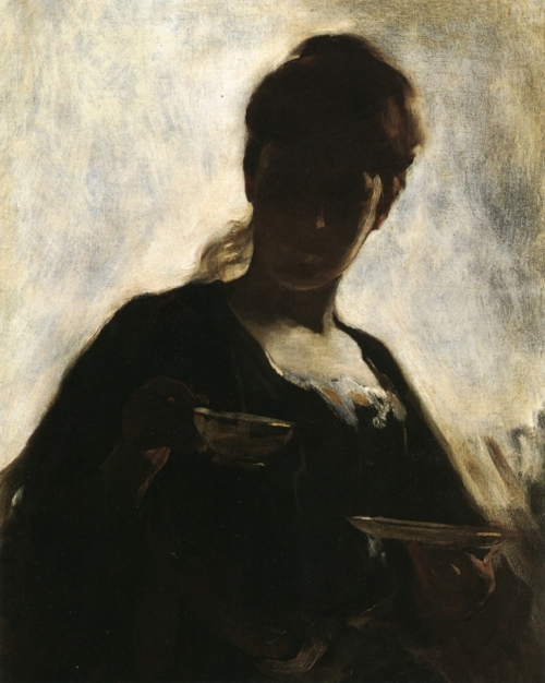 woman with tea cup - ohn white alexander
