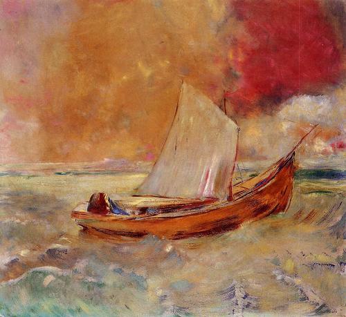 yellow boat - odilon redon