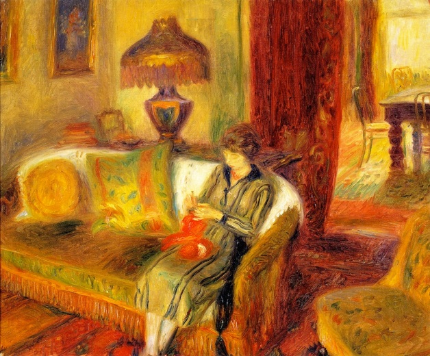 1920 The Artist's Wife Knitting oil on canvas 61 x 76.2 cm